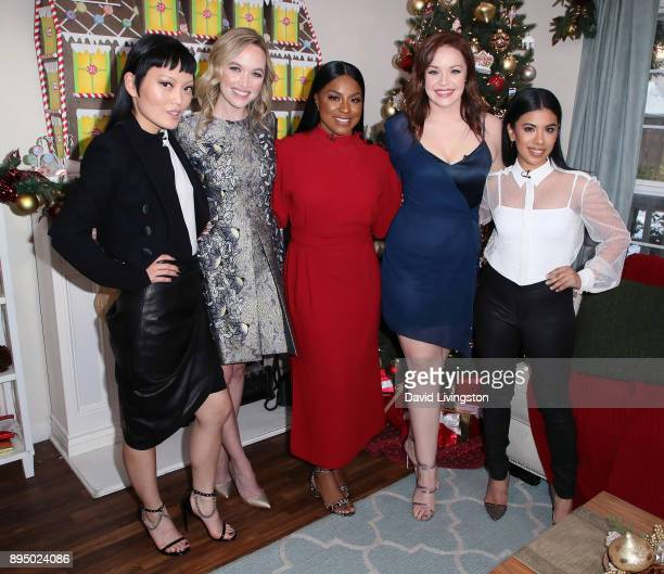 Actresses Hana Mae Lee Kelley Jakle Ester Dean Shelley Regner and Chrissie Fit visit Hallmark's Home Family at Universal Studios Hollywood on...