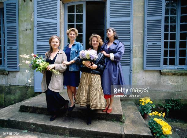 Actresses Hanna Schygulla Michele Laroque Nicole Garcia And Anemone On Set Of Movie Aux Petits Bonheur Directed By Michel Deville July 1993