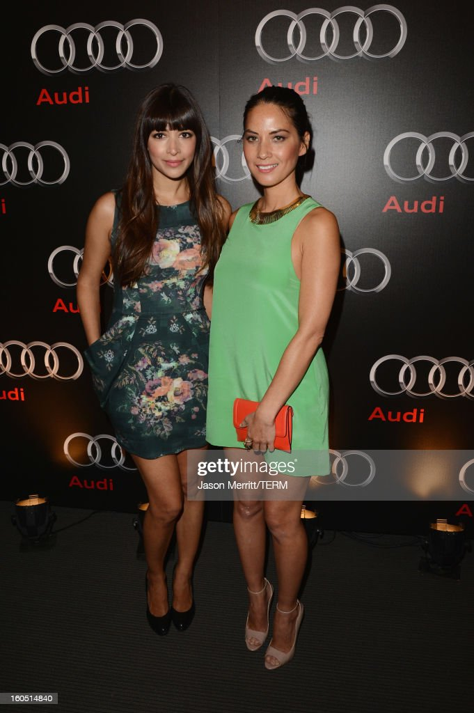 Actresses Hannah Simone (L) and Olivia Munn attend the Audi Forum New Orleans at the Ogden Museum of Southern Art on February 1, 2013 in New Orleans, Louisiana.