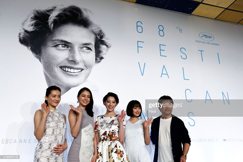 Actresses Haruka Ayase, Masami Nagasawa, Kaho, Suzu Hirose and director Hirokazu Koreeda attend the press conference for 'Umimachi Diary' ('Our Little Sister') during the 68th annual Cannes Film Festival on May 14, 2015 in Cannes, France.