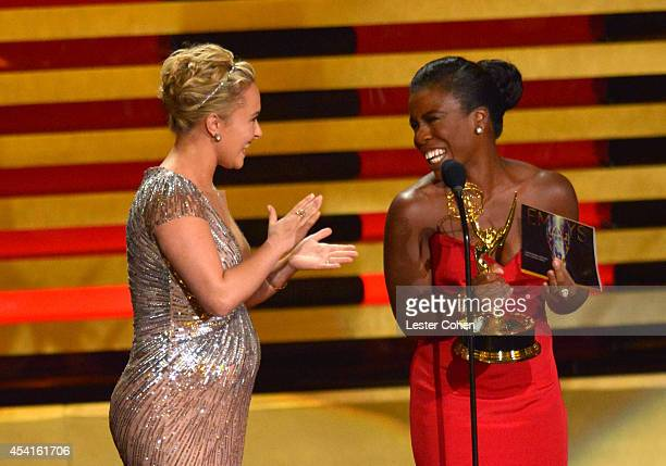 Actresses Hayden Panettiere and Uzo Aduba speak onstage at the 66th Annual Primetime Emmy Awards held at Nokia Theatre L.A. Live on August 25, 2014...