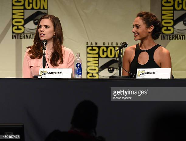 Actresses Hayley Atwell and Gal Gadot attend the Entertainment Weekly Women Who Kick Ass panel during ComicCon International 2015 at the San Diego...