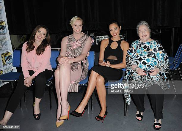 Actresses Hayley Atwell Gwendoline Christie Gal Gadot and Kathy Bates attend the Entertainment Weekly Women Who Kick Ass panel during ComicCon...