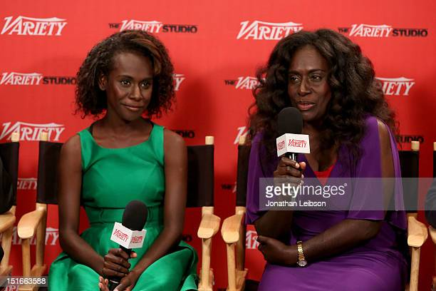 Actresses Healesville Joel and Xzannjah Matsi attend Variety Studio presented by Moroccanoil at Holt Renfrew on Day 2 at Holt Renfrew Toronto during...