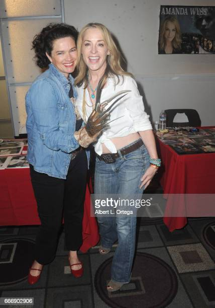 Actresses Heather Langenkamp and Amanda Wyss attend day 2 of the 2017 Monsterpalooza held at Pasadena Convention Center on April 9 2017 in Pasadena...