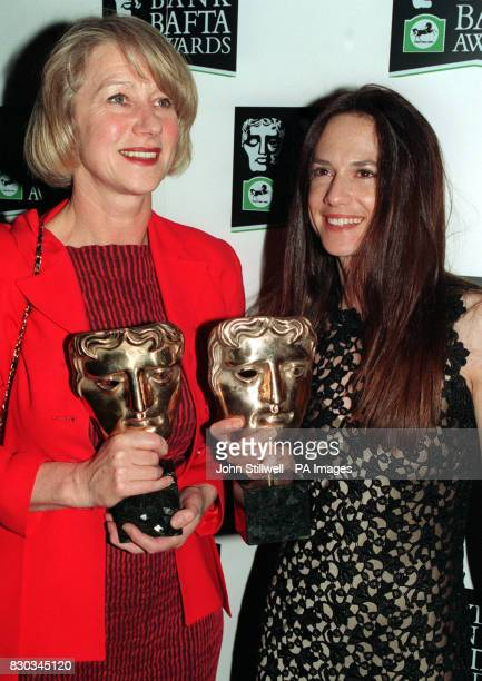 Actresses Helen Mirren and Holly Hunter with their Bafta Awards for Best Television Actress and Best Performance by an Actress in a Leading Film Role...
