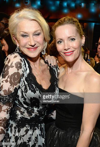 Actresses Helen Mirren and Leslie Mann attend the 21st Annual Critics' Choice Awards at Barker Hangar on January 17 2016 in Santa Monica California