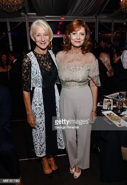 Actresses Helen Mirren and Susan Sarandon attend the Artists for Peace and Justice festival gala during the 2015 Toronto International Film Festival...