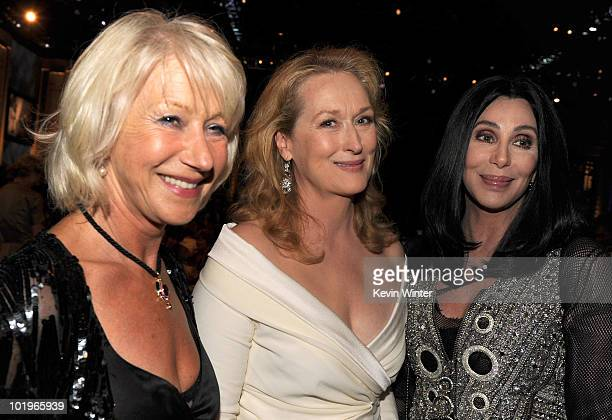 Actresses Helen Mirren Meryl Streep and Cher pose in the audience during the 38th AFI Life Achievement Award honoring Mike Nichols held at Sony...