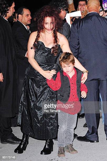 Actresses Helena Bonham Carter and her son Billy Raymond Burton enter the Museum of Modern Art on November 17 2009 in New York City