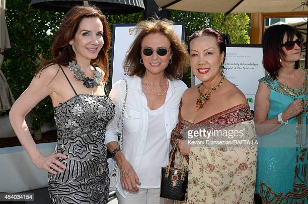 Actresses Helene Cardona and Jacqueline Bisset and designer Sue Wong attend the 2014 BAFTA Los Angeles TV Tea presented By BBC America And Jaguar at...
