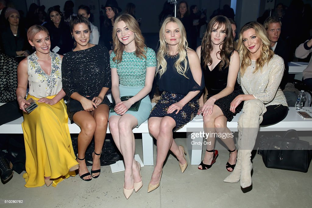 Actresses Hilary Duff, Lorenza Izzo, Skyler Samuels, Jennifer Morrison, Danielle Panabaker and actress Katie Cassidy attend the Jenny Packham Fall 2016 fashion show during New York Fashion Week: The Shows at The Gallery, Skylight at Clarkson Sq on February 14, 2016 in New York City.