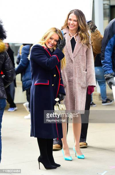 Actresses Hilary Duff Sutton Foster are seen on set of 'Younger' on February 27 2019 in New York City