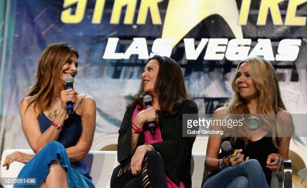 Actresses Hilary Shepard Bertila Damas and actress and dancer Cyia Batten speak at the Guest Stars of DS9 panel during the 17th annual official Star...