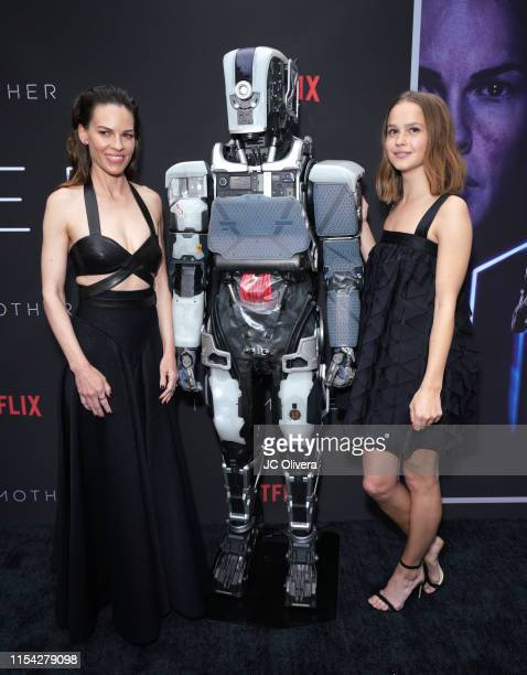 Actresses Hilary Swank and Clara RugaardLarsen attend the LA Special Screening Of Netflix's 'I Am Mother' at ArcLight Hollywood on June 06 2019 in...