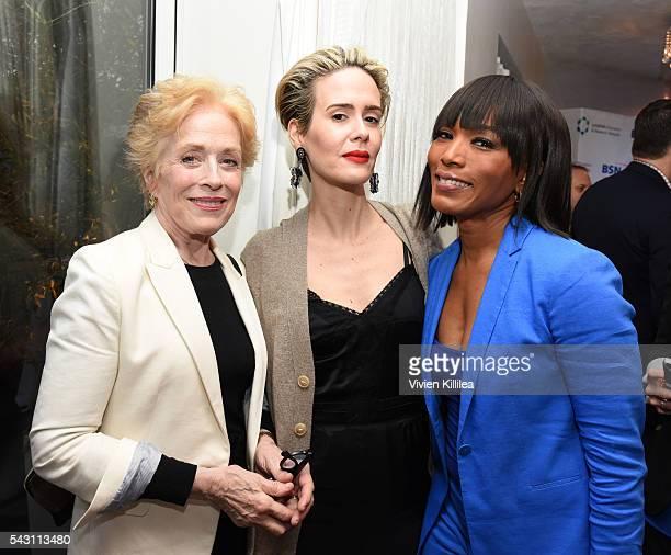 Actresses Holland Taylor Sarah Paulson and Angela Bassett attend Academy AwardWinner Kathy Bates Hosts Reception On Eve Of California Walk To Fight...