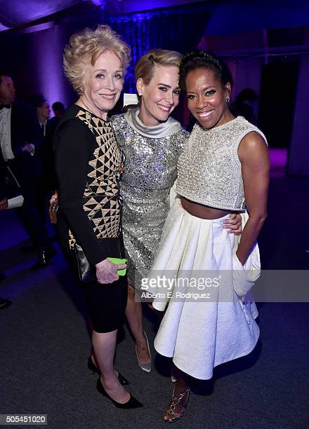 Actresses Holland Taylor, Sarah Paulson and Regina King attend the after party for the 21st Annual Critics' Choice Awards at Barker Hangar on January...