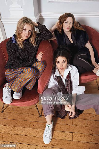 109772004 Actresses Holliday Grainger Hannah Murray and Gala Gordon are photographed for Madame Figaro on April 28 2014 in London England Clothing...