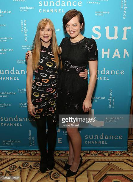 Actresses Holly Hunter and Elisabeth Moss attend the Sundance Channel 2013 Winter TCA Panel at The Langham Huntington Hotel and Spa on January 5 2013...