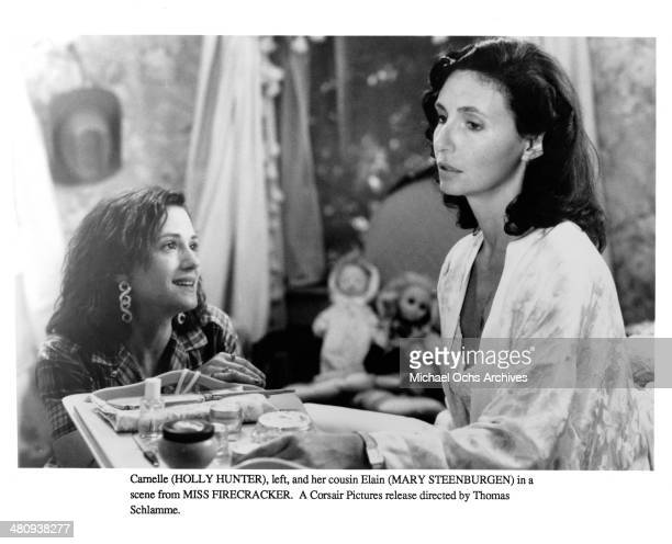 """Actresses Holly Hunter and Mary Steenburgen in a scene from the movie """"Miss Firecracker """" circa 1989."""