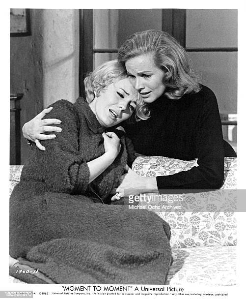 Actresses Honor Blackman and Jean Seberg on the set of the Universal Pictures movie Moment to Moment in 1965