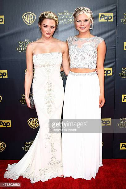 Actresses Hunter King and Kelli Goss attend the 42nd annual Daytime Emmy Awards held at Warner Bros Studios on April 26 2015 in Burbank California