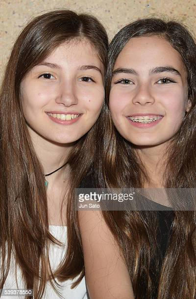 Actresses Ilayda Akdogan and Gunes Sensoy attend the 'Mustang' stage greeting at Cinema Switch Ginza Theater on June 11 2016 in Tokyo Japan