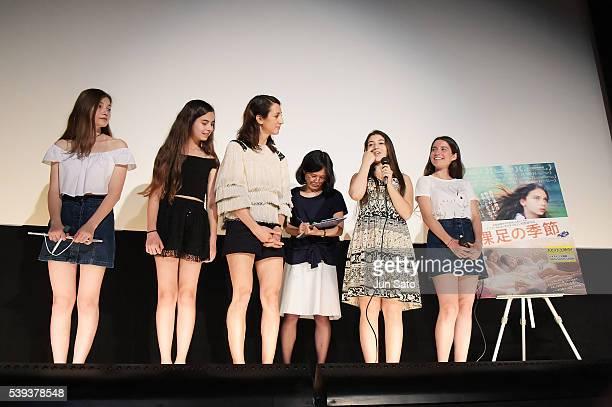 Actresses Ilayda Akdogan Gunes Sensoy Director Deniz Gamze Erguven Doga Doguslu and Elit Iscan attend the 'Mustang' stage greeting at Cinema Switch...