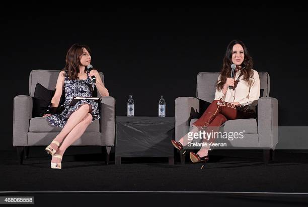 Actresses Illeana Douglas and Madeleine Stowe speak onstage during the screening of 'The Philadelphia Story' during day four of the 2015 TCM Classic...