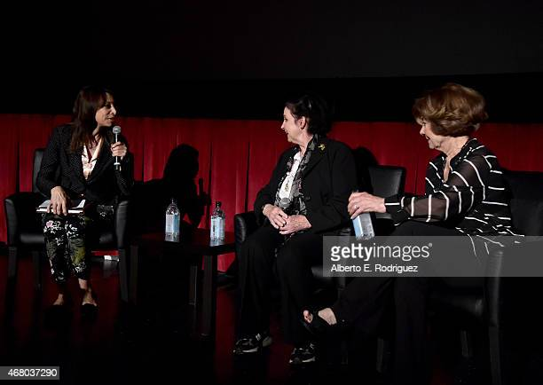 Actresses Illeana Douglas Millie Perkins and Diane Baker speak onstage before the screening of 'The Diary of Anne Frank' during day four of the 2015...