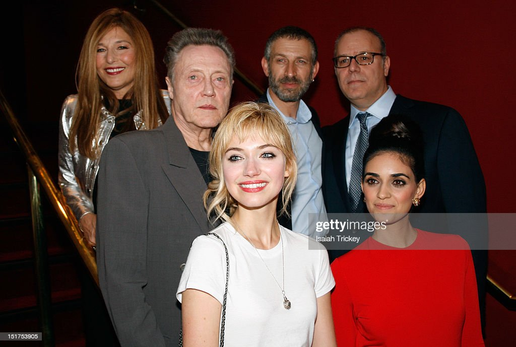 Actresses Imogen Poots and Liraz Charhi (Center Row L-R) Actors Christopher Walken, Actor Mark Ivanir and And Director Yaron Zilberman (Back Row) Actress Catherine Keener attend the 'A Late Quartet' Premiere at the 2012 Toronto International Film Festival at The Elgin on September 10, 2012 in Toronto, Canada.