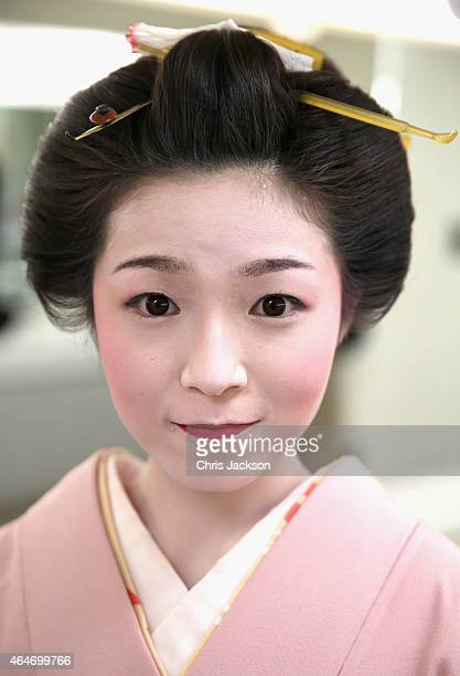 Actresses in Geisha makeup on the set of a historical drama at NHK Public Broadcasting Studios during the third day of his visit to Japan on February...