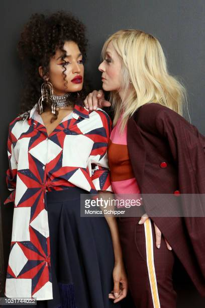 Actresses Indya Moore and Judith Light attend the Calvin Klein Collection fashion show at New York Stock Exchange on September 11 2018 in New York...