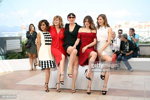 Actresses Inma Cuesta Emma Suarez Rossy de Palma Adriana Ugarte and Michelle Jenner attend the Julieta photocall during the 69th annual Cannes Film...