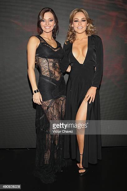 "Actresses Irina Baeva and Gema Garoa attend the ""Pasion y Poder"" press conference at Live Aqua Bosques on October 1, 2015 in Mexico City, Mexico."