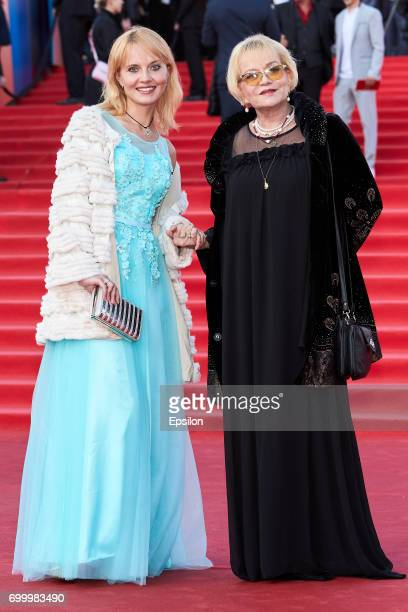 Actresses Irina Shevchuk with the daughter Aleksandra AfanasyevaShevchuk attend opening of the 39th Moscow International Film Festival outside the...