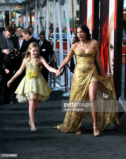 Actresses Isabella Kai Rice and Rosario Dawson attend the premiere of Warner Bros Pictures' Unforgettable at TCL Chinese Theatre on April 18 2017 in...