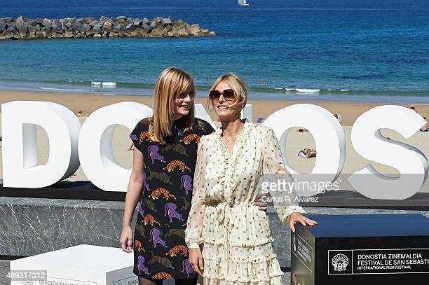 Actresses Isabelle Carre and Karin Viard attend the '21 Nuits Avec Pattie' photocall at the Kursaal Palace during the 63rd San Sebastian Film...