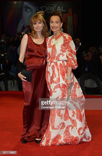 Actresses Isabelle Carre and Kristin Scott Thomas attend 'Cherchez Hortense' Premiere during the 69th Venice Film Festival at the Palazzo del Cinema...