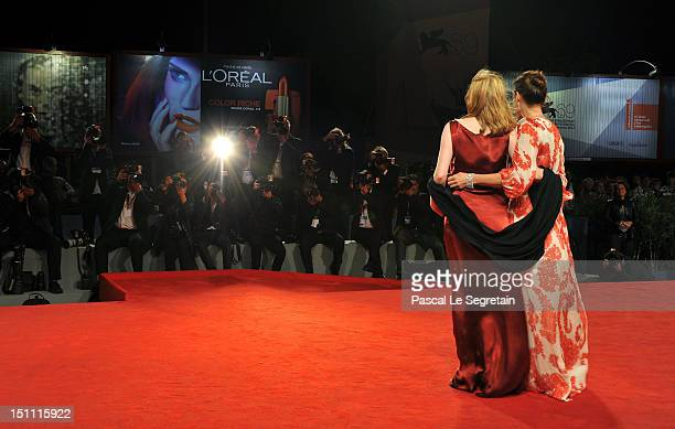 Actresses Isabelle Carre and Kristin Scott Thomas attend the 'Cherchez Hortense' Premiere during The 69th Venice Film Festival at the Palazzo del...