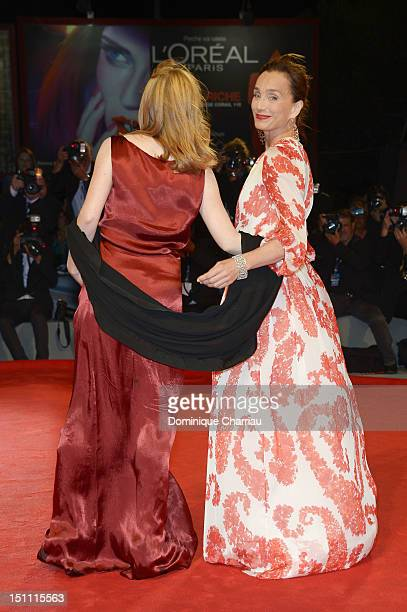 Actresses Isabelle Carre and Kristin Scott Thomas attends 'Cherchez Hortense' Premiere during the 69th Venice Film Festival at the Palazzo del Cinema...