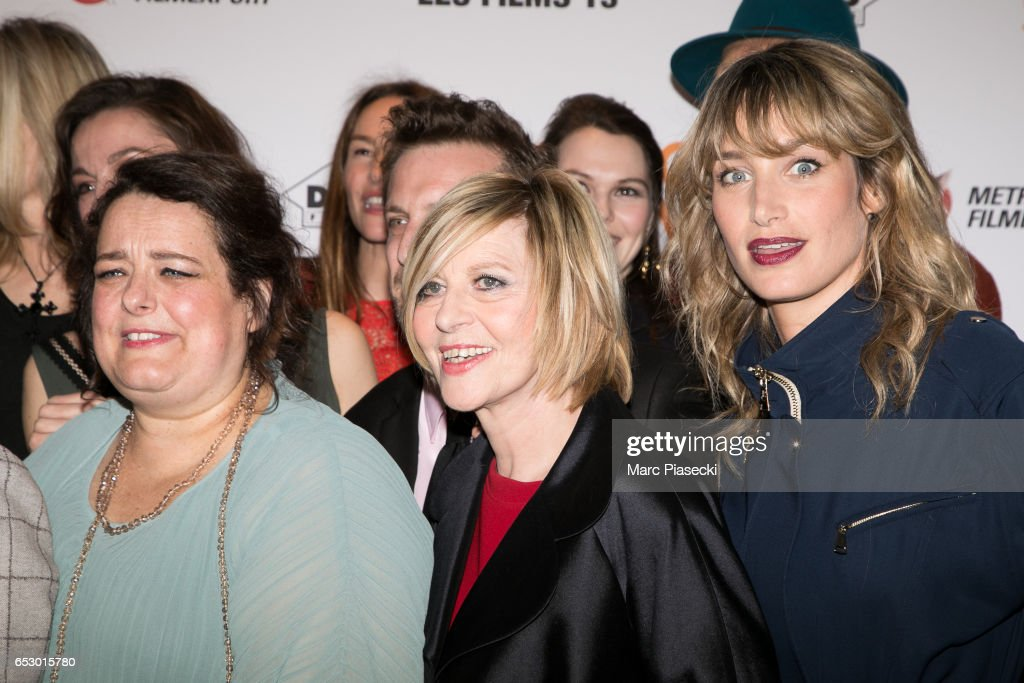 Actresses Isabelle De Hertogh, Chantal Ladesou and Pauline Lefevre attend the 'Chacun sa vie' Premiere at Cinema UGC Normandie on March 13, 2017 in Paris, France.