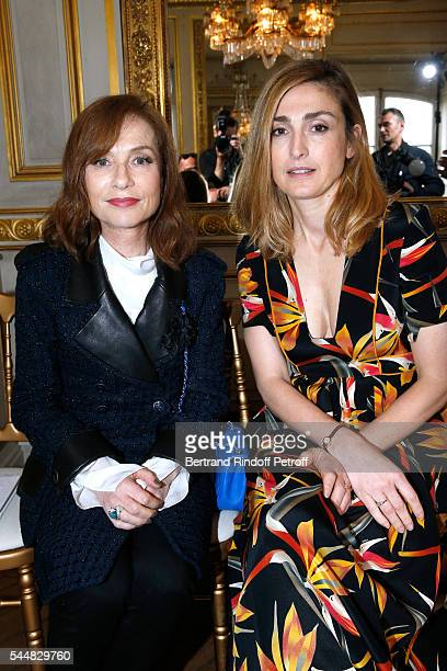 Actresses Isabelle Huppert and Julie Gayet attends the Presentation of Maison Boucheron New 'Haute Joaillerie' Collection as part of Paris Fashion...