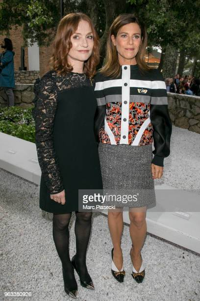 Actresses Isabelle Huppert and Marina Fois attend Louis Vuitton 2019 Cruise Collection at Fondation Maeght on May 28 2018 in SaintPaulDeVence France