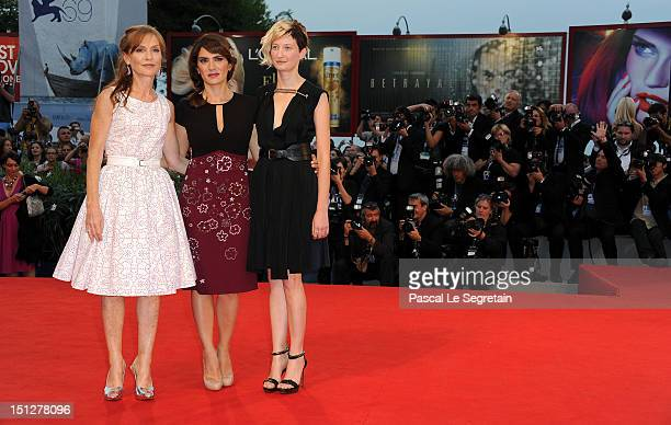 Actresses Isabelle Huppert Maya Sansa and Alba Rohrwacher attend the 'Bella Addormentata' Premiere during The 69th Venice Film Festival at the...