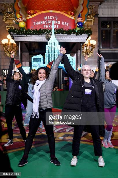 Actresses Isabelle McCalla and Caitlin Kinnunen perform during the 92nd Annual Macy's Thanksgiving Day Parade rehearsals day one on November 19 2018...