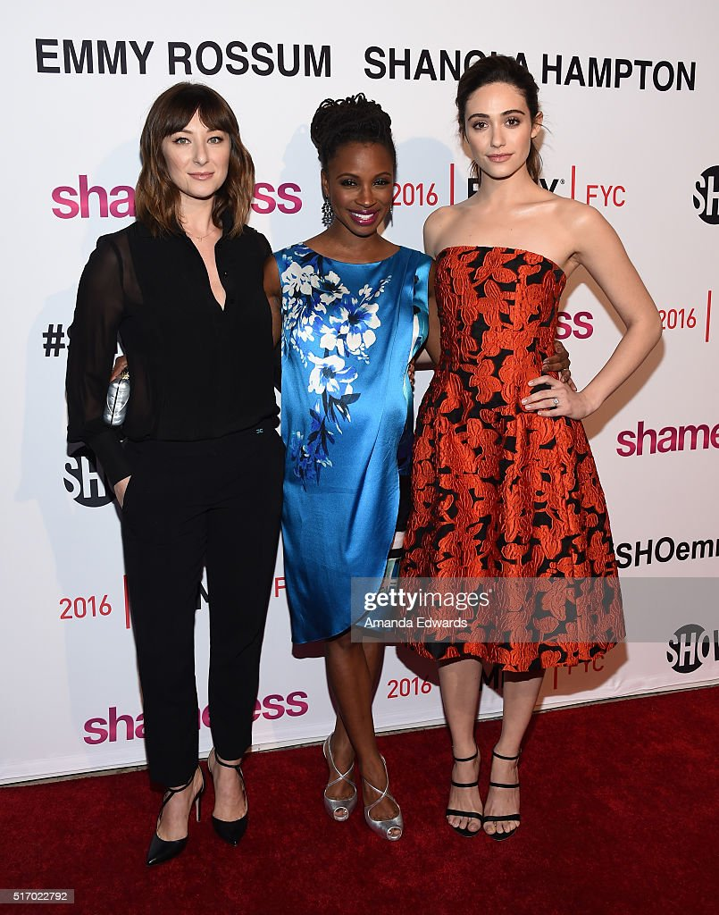 Actresses Isidora Goreshter, Shanola Hampton and Emmy Rossum arrive at The Women of Showtime's 'Shameless' screening and panel discussion at The London Hotel on March 22, 2016 in West Hollywood, California.