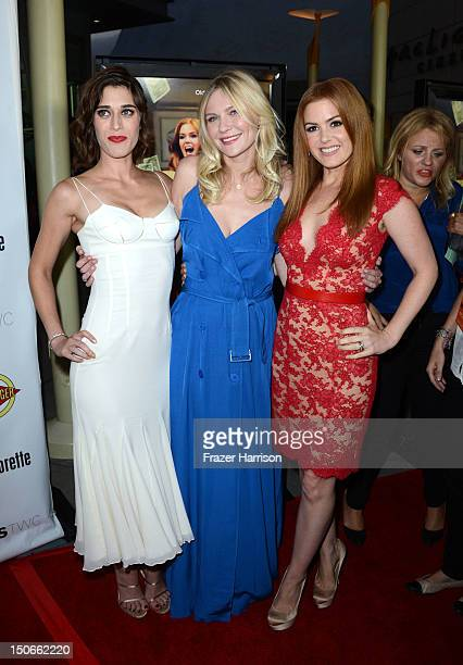 Actresses Isla Fisher Kirsten Dunst Lizzy Caplan arrive at the premiere of RADiUSTWC's 'Bachelorette' at ArcLight Cinemas on August 23 2012 in...