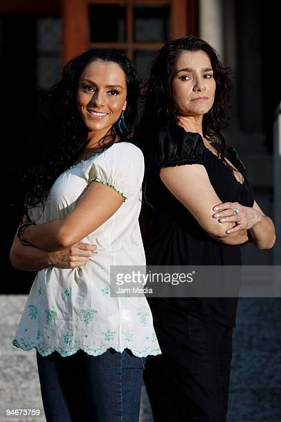 Actresses Ivonne Montero and Gabriela Roel during the presentacion of the new mexican tv soap opera 'La Loba' of TV Azteca on December 16 2009 in...