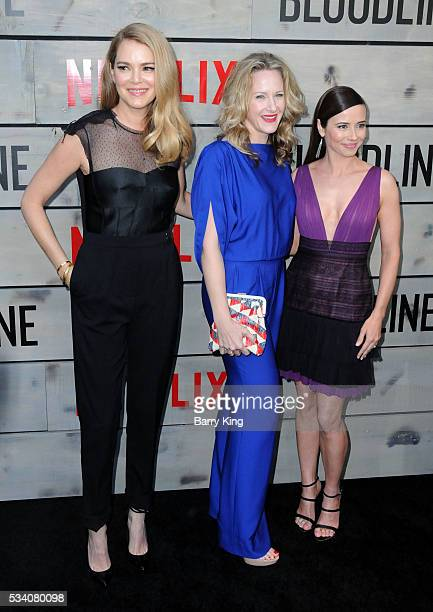 Actresses Jacinda Barrett Katie Finneran and Linda Cardellini attend the premiere of Netflix's 'Bloodline' at Landmark Regent Theatre on May 24 2016...